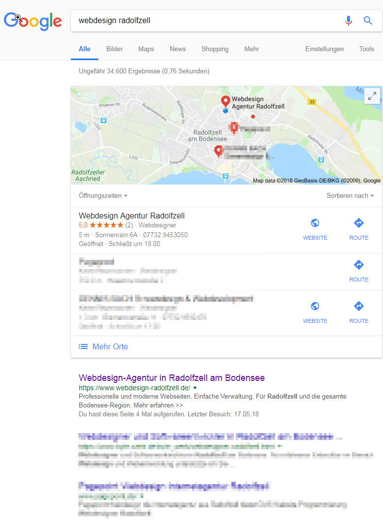 Google Rankings verbessern - Webdesign Radolfzell Serps